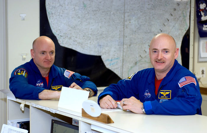 Astronauts Mark Kelly and twin brother Scott Kelly
