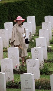 Queen Elizabeth II visited the British Military Cemetery on June 6, 1994.