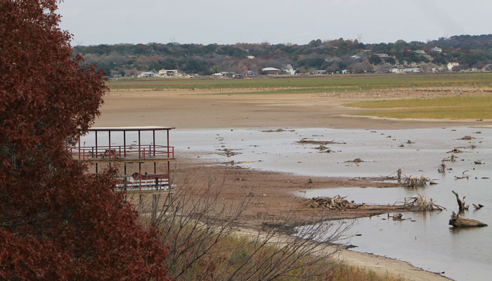 Drought-affected Lake Granbury in Denton, Texas, which feeds several lake systems including Possum Kingdom Lake, Lake Whitney and Lake Granbury. The river is facing what climatologists fear may become the worst drought in Texas history. (AP Photo/Denton Record-Chronicle, Christian McPhate)