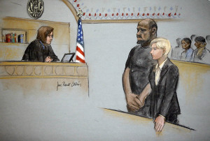 In this courtroom sketch, David Wright, second from left, is depicted standing with his attorney Jessica Hedges, right, as Magistrate Judge M. Page Kelley presides, left, during a hearing Wednesday, June 3, 2015, in federal court in Boston. Wright was ordered held Wednesday on a charge of conspiracy with intent to obstruct a federal investigation in the case of  Usaama Rahim, who while under surveillance by terrorism investigators, was killed after he lunged with a knife at a Boston police officer and an FBI agent. (Jane Flavell Collins via AP)