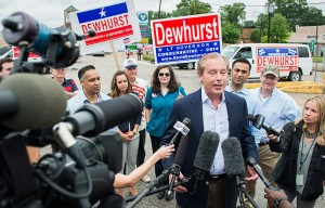 Lt. Gov. David Dewhurst addresses the media outside a polling place at the Trini Mendenhall Community Center on Tuesday. He lost his re-election bid to state Sen. Dan Patrick in a runoff election to claim the Republican spot on the ballot in November. Dewhurst was first elected to the post in 2002. (Smiley N. Pool/Houston Chronicle, The Associated Press).
