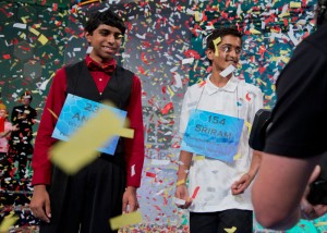 The 2014 Scripps National Spelling Bee Co-Champions Ansun Sujoe, left, of Fort Worth, Texas, and Sriram Hathwar, of Painted Post, N.Y., celebrate after winning the Scripps National Spelling Bee competition, Thursday at National Harbor in Oxon Hill, Md. (Manuel Balce Ceneta/Associated Press)