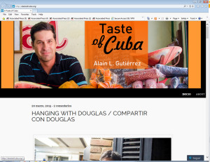 "This screenshot of ATasteofCuba.org shows the website of Alain Gutierrez, a Cuban food blogger who is passionate about preserving and promoting traditional Cuban cuisine. In a country where many people lack Internet access, Gutierrez is making his mark online. He's passionate about promoting traditional Cuban cuisine, and his dreams could be fueled if the island's evolving restaurant scene makes it a destination for foodies. ""I'm trying to contribute to the rescue of the roots of my food and my culture,"" he says. ""I come from a really poor family. But my mom cooked really good."" (ATasteofCuba.org via AP)"