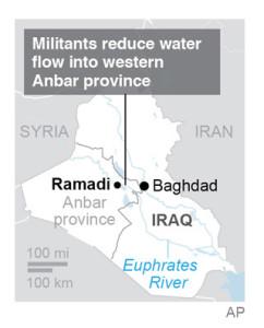 Map locates Ramadi dam in Iraq's Anbar province.; 1c x 3 inches; 46.5 mm x 76 mm;